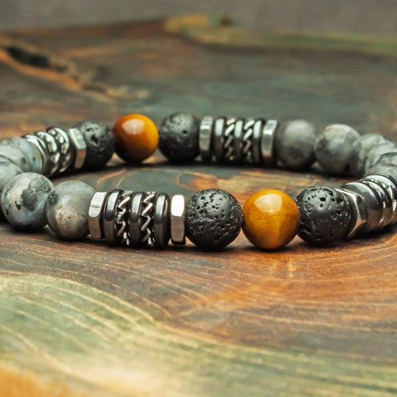 Beaded bracelet 8mm natural stones Eye Tiger Labradorite Grey Matte Lava Volcanic Lava Black Hematite washers steel 1000ola