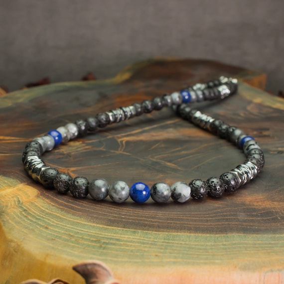 Men's pearl necklace 6mm natural stone Larvikite Labradorite matte grey Lapis Lazuli Black Volcanic Lava washers Hematite metal INOX