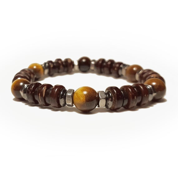 Men's/Men PearlS Bracelet - 8mm Tiger Eye Hematite Wood Coco 8mm-6m Tibetan-style stainless steel Made in France