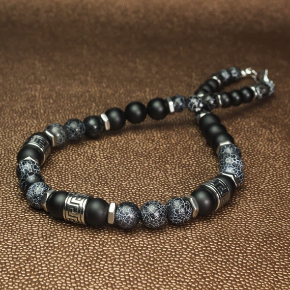 Necklace man/Men's beads Ø8 - 10 mm stone Agate Onyx Spider Web style Antique Tibetan metal beads stainless silver color