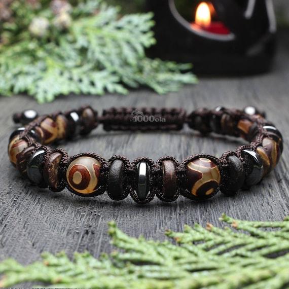 Men's bracelet Shambala style beads Ø 8mm natural stone agate motif Tibetan Hematite wood Coco/coconut Brown nylon thread