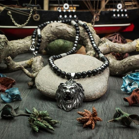 collier homme onyx noir
