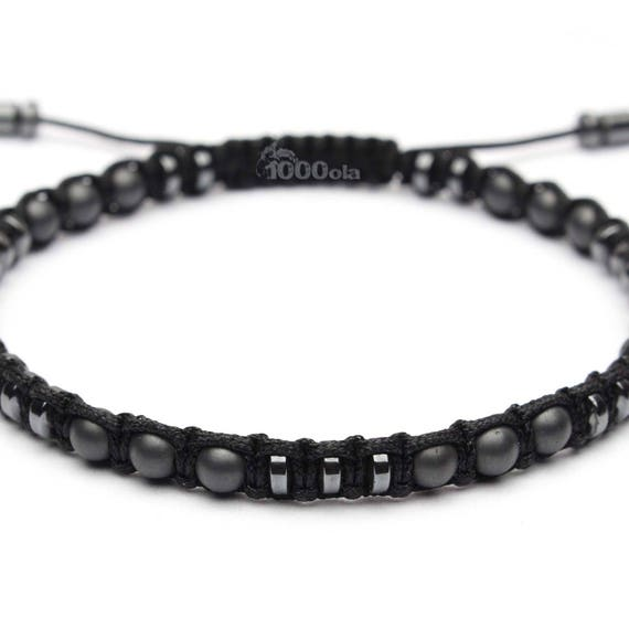 Stylish men's bracelet beads Ø 4mm natural stone Hematite black and matte grey nylon yarn