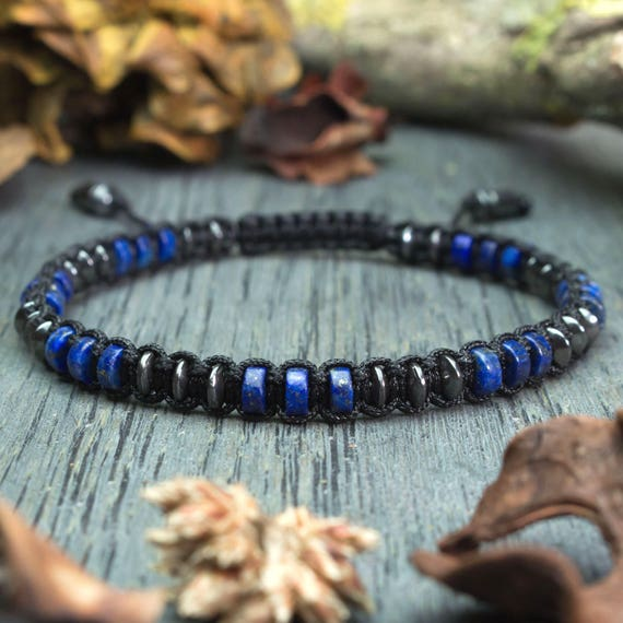 Stylish men's bracelet beads Ø4mm natural gemstone lapis lazuli Hematite black nylon yarn creation 1000ola handmade