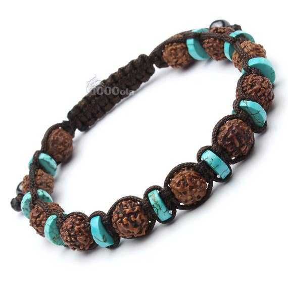 Beautiful bracelet man/woman beads natural stone genuine turquoise stabilized wood seeds Rudraksha Ø 8mm P152