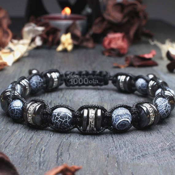 Men's bracelet Ø 8mm natural stone agate Spider Web Hematite beads metal color silver style Tibetan antique