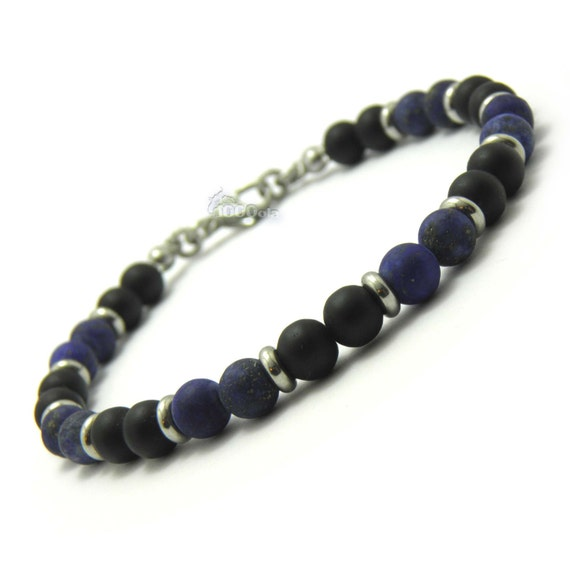 Elegant BRACELET men/Men's beads 4 mm black Agate and Lapis Lazuli natural stone blue + stainless steel/stainless lobster clasp