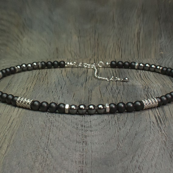 Jewel chic Necklace men beads Ø 6mm gemstone Agate Black Hematite tube rings hexagon Stainless steel color silver Tibetan style