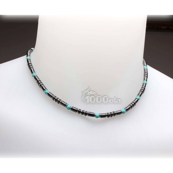 Beautiful jewelry necklace stones man high-end natural Howlite turquoise 4mm hematite metal stainless steel