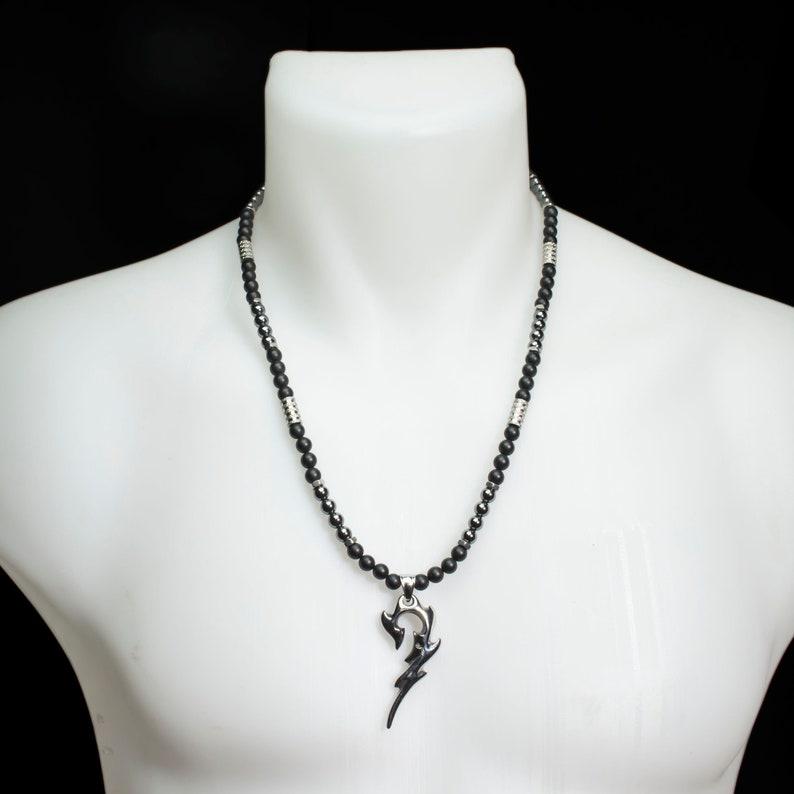 e689373e9e0 Collier Homme perles 6mm pierre Agate Onyx noir mat Hématite