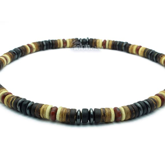 Made in France necklace men/men's surfer/surf style beads Ø 8 mm natural wood coconut/coconut red hematite Jasper/Jasper stone