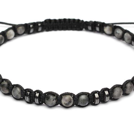 Men's bracelet Shambala style beads Ø 4mm natural stone Larvikite Labradorite matte grey Hematite black wire nylon handmade 1000