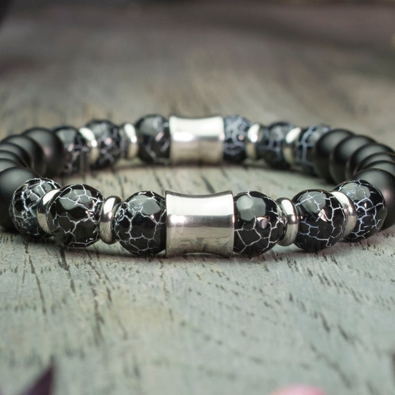 Men/women bracelet beads Ø8mm spiderweb Agate natural stone faceted Agate/Onyx black matte ring stainless steel made hand