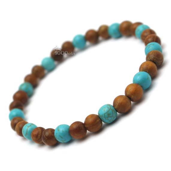 Male/female surfer/surf style bracelet beads natural Huanghuali wood Brown Ø6mm, stone natural howlite turquoise P89