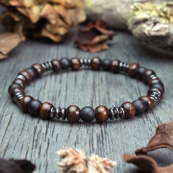 Bracelet mens style surfer/surf natural stone beads agate/Onyx matte black Ø6mm wood Brown Hematite handmade made in France 1000ola