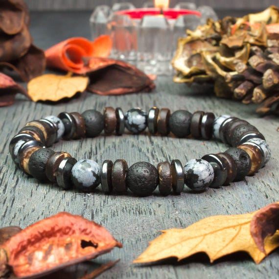 Gorgeous bracelet mens beads Ø8mm natural stone Obsidian snow flake lava volcanic wood coconut/Coco Hematite creation 1000ola
