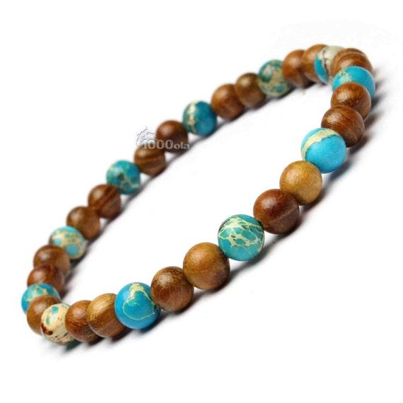 Male/female surfer/surf style bracelet beads natural Huanghuali wood Brown Ø6mm, turquoise Sea Sediment Jasper/Jasper Gemstone stone