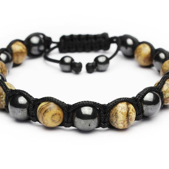 Bracelet men men's bracelet beads Ø 8mm natural stone Jaspe Picasso Hematite made man made in France 1000ola