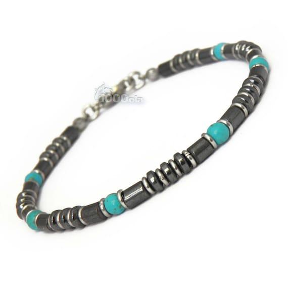 New BRACELET men/women stone beads natural hematite black howlite turquoise rings Metal inox/stainless lobster clasp