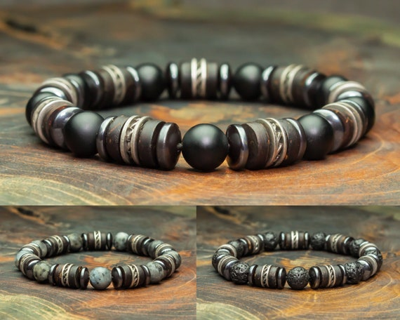 Men's/Female Pearls Bracelet 8mm Natural Stones Eye Tiger Labradorite Grey Mat Agate/onyx Black Hematite washers steel 1000ola