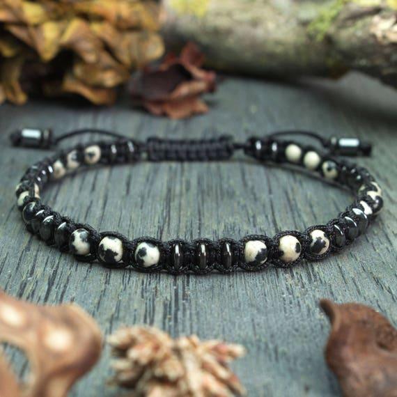 Élégant Bracelet HommeStyle Shambala  perles Ø 4mm  en Pierre Naturelle Jaspe/Jasper dalmatien  Hématite noir et fil nylon Fait Main