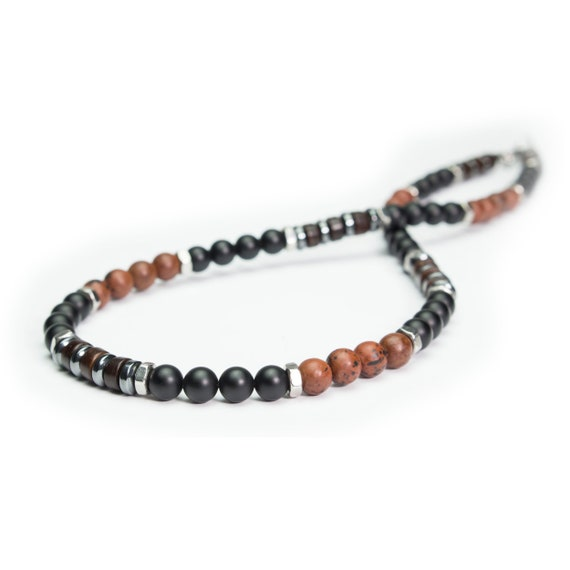 Man/woman beads Ø 6 mm Mahogany Obsidian Agate/Onyx natural stone necklace hematite matte black wood coconut stainless/inox Metal rings