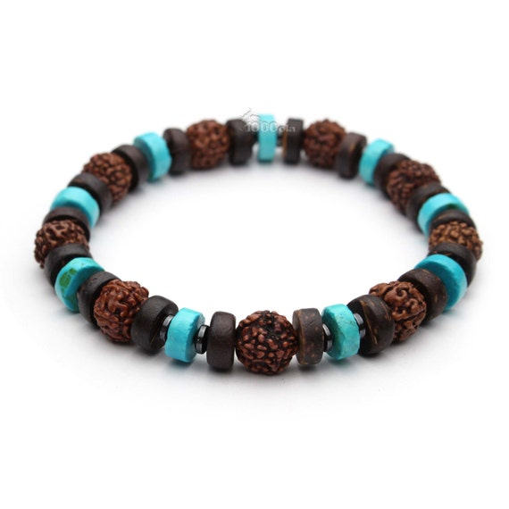 Beautiful man/woman Bracelet beads natural real Turquoise stone stabilized seeds Rudraksha, wood coconut/Coco Ø 8 mm