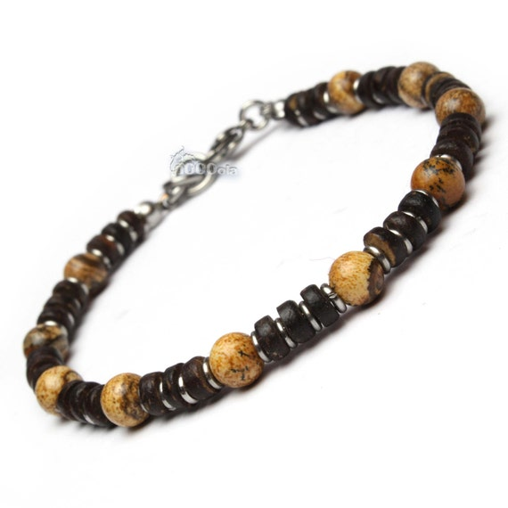 BRACELET Men/Woman Pearls Natural Stone Jasper Picasso 6mm Coconut Wood/Coco rings clasp stainless metal musket/stainless steel P127