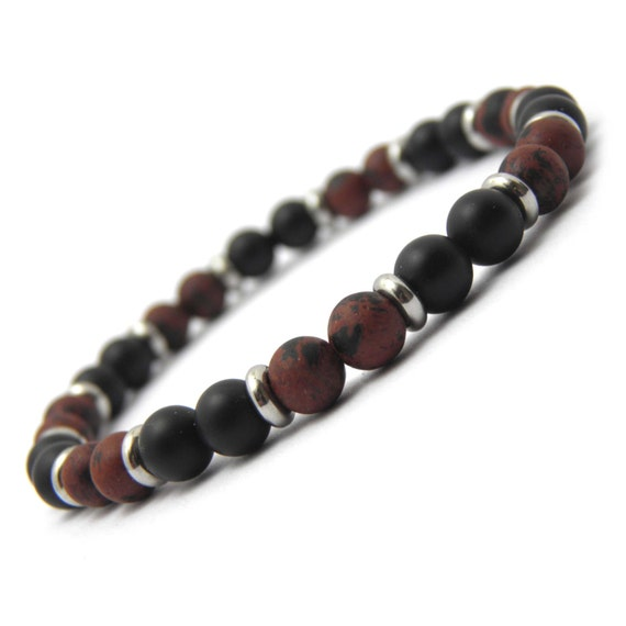 New Fashion Trend BRACELET Men's Pearls Natural StoneMahogany Obsidian Brown 6mm - Matte Black Agate (Onyx) - Stainless Metal/Stainless Steel Rings