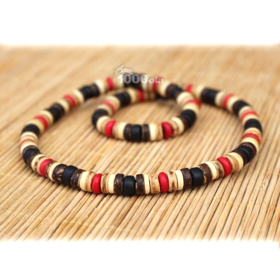 Male/female surfer/surf style necklace beads stone natural howlite red wood coconut/coconut Ø 8 mm P77