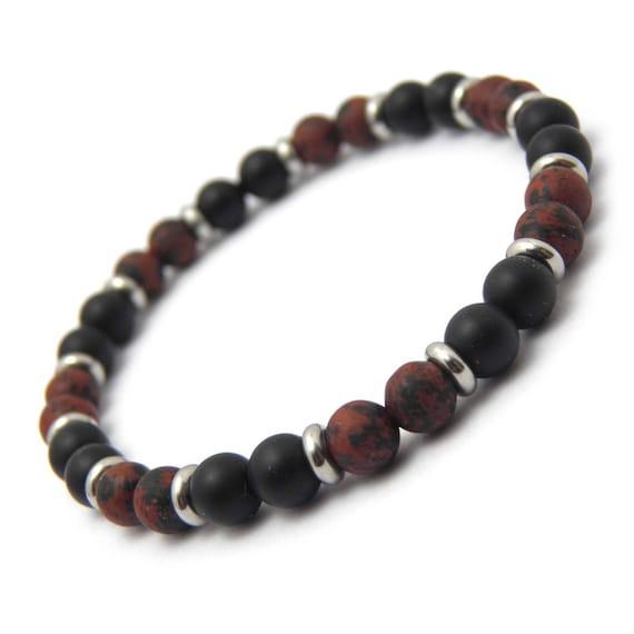 Fashion men bracelet beads matte black agate (onyx) + mahogany obsidian marron6mm + stainless metal rings