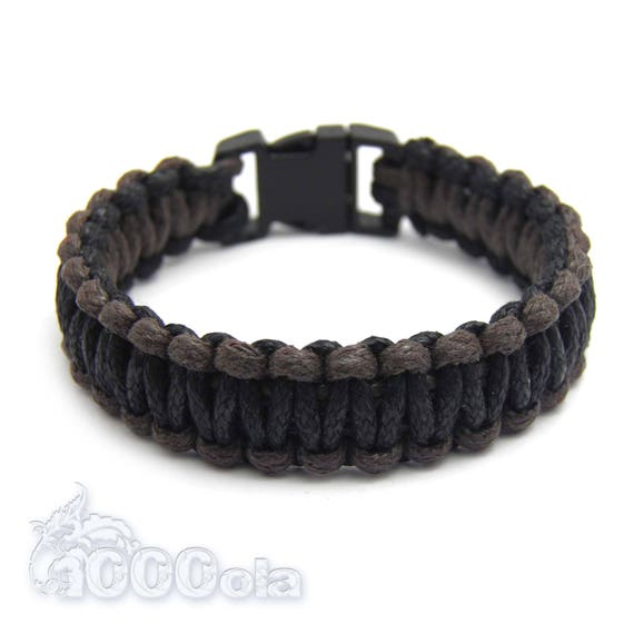 Mens style survival bracelet - PARACORD knotted bracelet waxed Black-Brown SV18