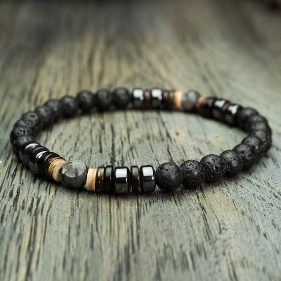 Bracelet men beads Ø 6 mm stone gemstone lava volcanic Hematite Larvikite Labradorite wood coconut/coconut is hand Made in France