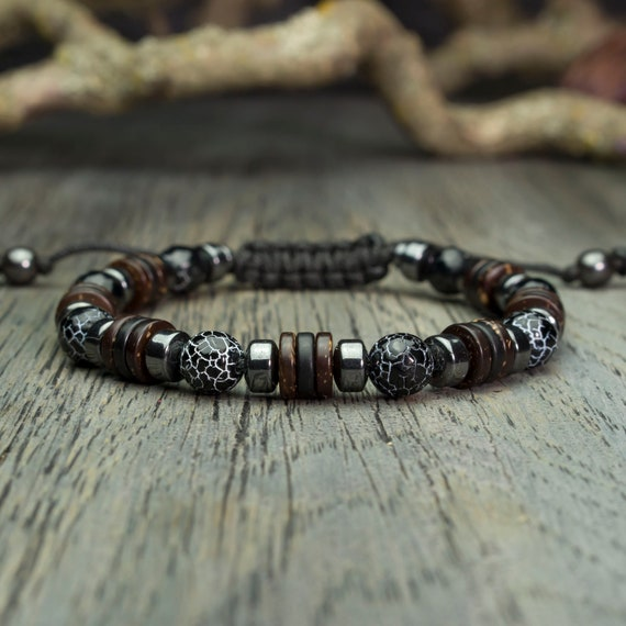 Men's/men's bracelet Ø 8mm natural stone agate Spider Web Hematite Tibetan style made in France