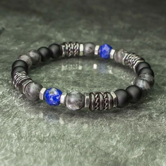 Bracelet pearls 8mm natural stones Lapis Lazuli Facet Labradorite Matt Grey Agate/Onyx Black Hematite Stainless Steel Made in France