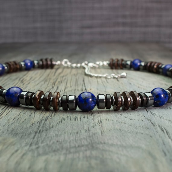 Beautiful necklace man/woman beads natural stones Lapis Lazuli Ø8mm, Hematite wood coconut/coconut steel stainless Made in France