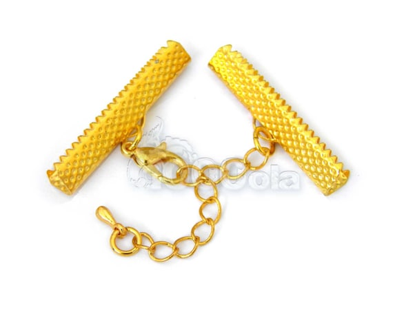 "Lot 4 sets gold color ""Caps claw 35x8mm + chain Extender + lobster clasp closure"" for creating jewelry Bracelet Necklace"