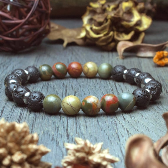 Man/woman beads Ø 8mm natural stone Jasper Picasso lava volcanic rings creating 1000ola hand made stainless steel bracelet