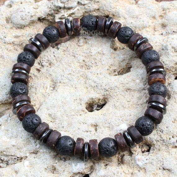 Beautiful Bracelet men/Men's beads Ø 8 mm natural stone lava volcanic coconut/coconut wood, Hematite Made in France