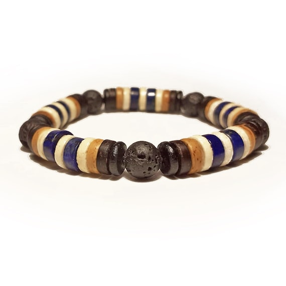 Beautiful Men's/Women's Pearl Bracelet - 8mm Pierre Lapis Lazuli blue-coloured Volcanic Lava Cocotier Wood/Coco hematite