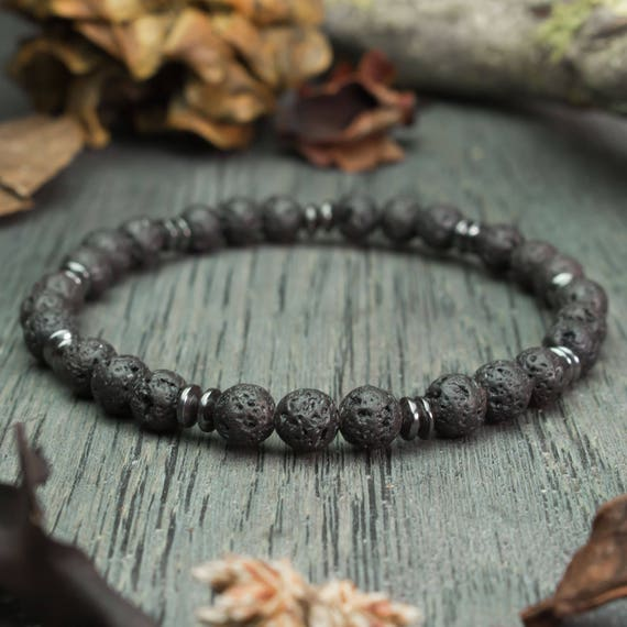 Mens bracelet black beads Ø 6 mm natural stone lava lava (Vesuvianite) Hematite handmade creation 1000ola