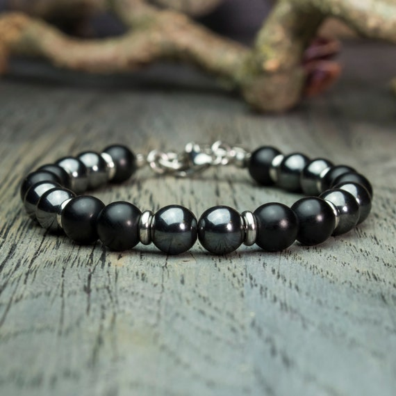 Ø 8mm gemstone Beads Bracelet men black Agate matte Hematite ball foot stainless steel pendant is hand Made in France