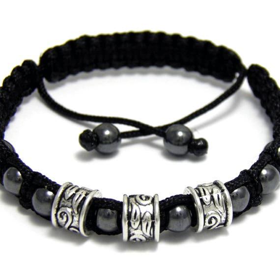 Bracelet men/men's style Shambala handmade custom metal beads color silver Hematite black wire