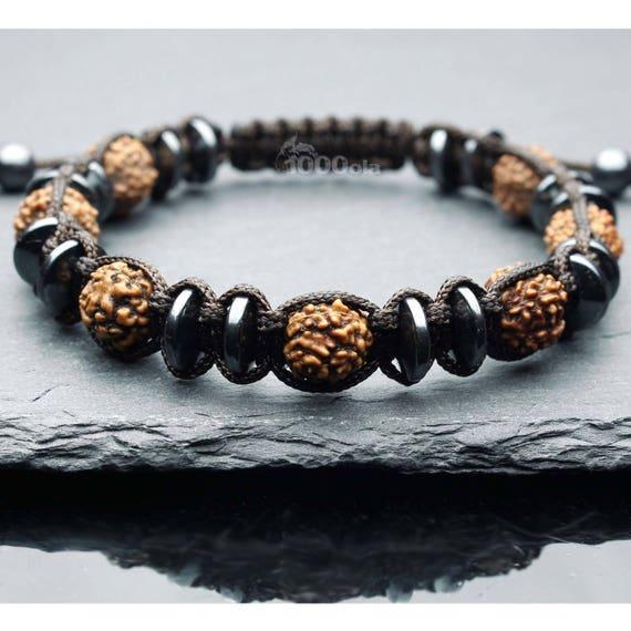Gorgeous men's bracelet style beads natural stone Hematite 8mm wood seeds Rudraksha Ø 9mm