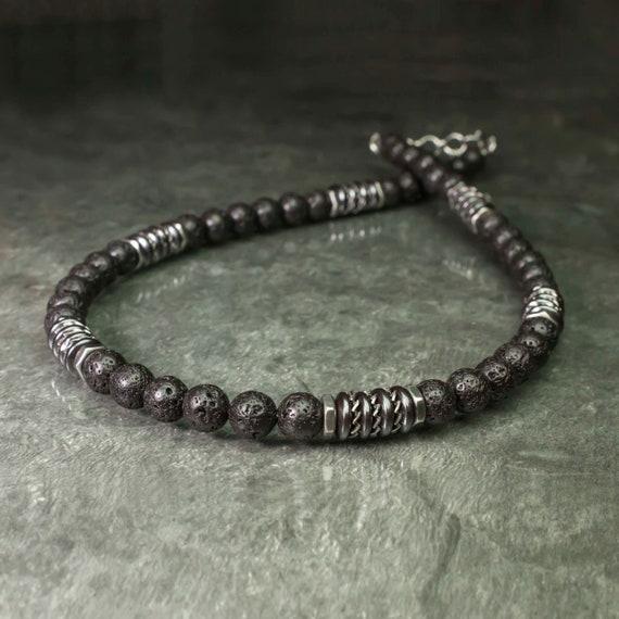 Necklace Man pearls 8mm stone Volcanic Lava (Vesuvianite) black washers Hematite hexagon washer steel STAINLESS STEEL Tibetan style 1000ola