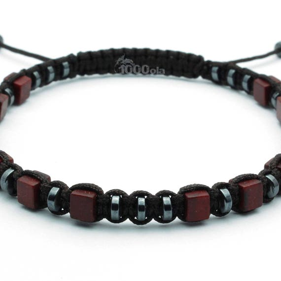 Elegant BRACELET Men/Men's STYLE Tibetan Mala Pearls 4x4mm Natural stones howlite color brown black hematite - 4mm