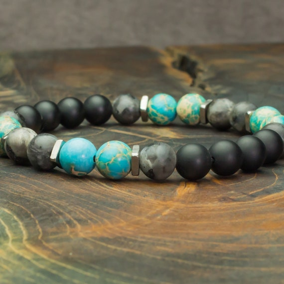 Men's/Female Bracelet Pearls 8mm Natural Stones Jaspe Sediment Lazuli Labradorite Agate Matte Grey/onyx black stainless steel Made in France