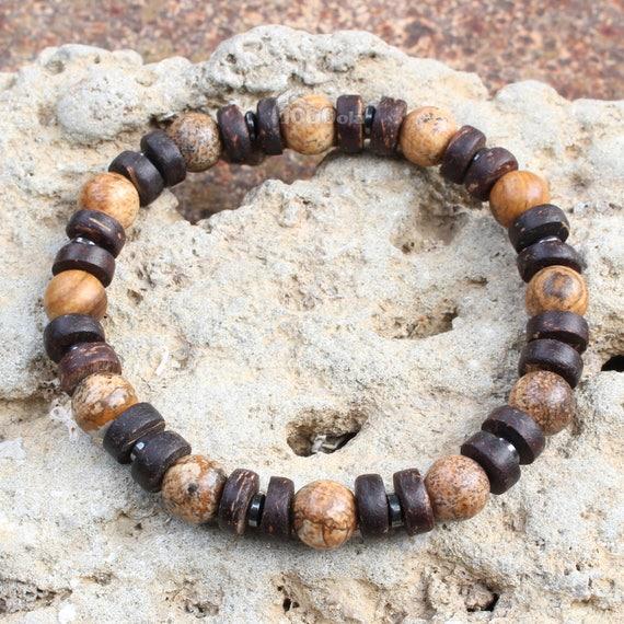 Beautiful men/women Bracelet beads Ø 8mm natural stone beige-Brown Picasso Jasper, coconut/coconut wood, Hematite Made in France P209