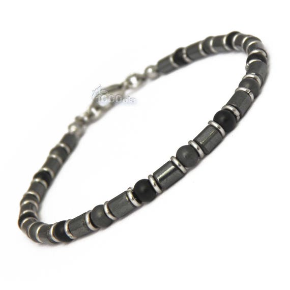 New collection Elegant BRACELET men/Men's beads 4 mm natural stones agate/onyx Matt hematite lobster clasp