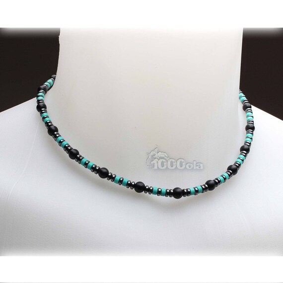 Necklace man stone natural genuine stabilized Turquoise Agate/Onyx 6mm black hematite 4mm stainless metal jewelry
